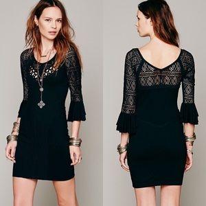 FREE PEOPLE City Girl Black Bodycon Dress Size M